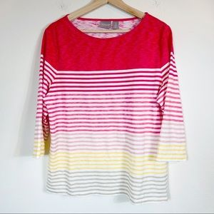 CHICO'S Prism Rays Pink Striped Boat Neck 3/4 Sleeve Top -